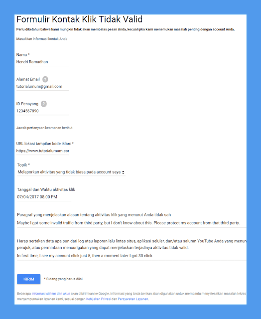 Cara Lapor Ke Google Adsense Jika Terkena Bom Klik/Aktifitas Tidak Valid
