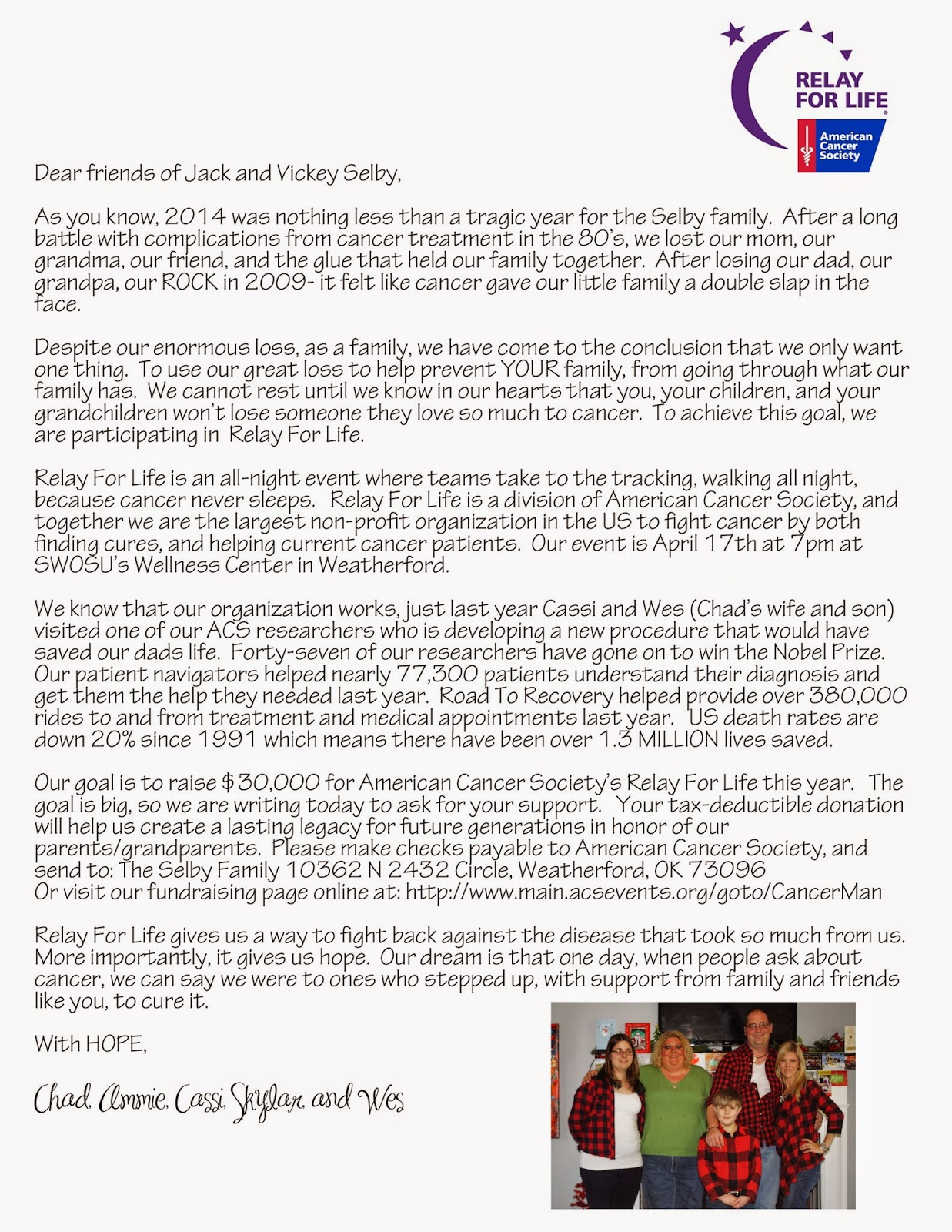 Cassi Selby Relay For Life Letter