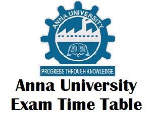 Anna University Exam Time Table 2018