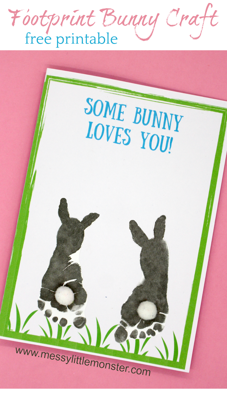 Some bunny loves you! Make a footprint bunny craft with your baby or toddler using our free printable keepsake card. Great for Mother's Day, Father's Day, Valentine's day or Easter.