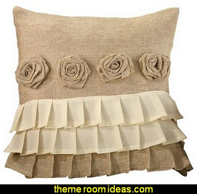 Burlap Rose Ruffle Design Pillow Cover