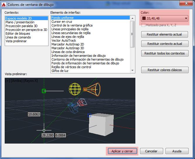 Cambiar color de la pantalla de Autocad - Recursos Interior: Autocad ...