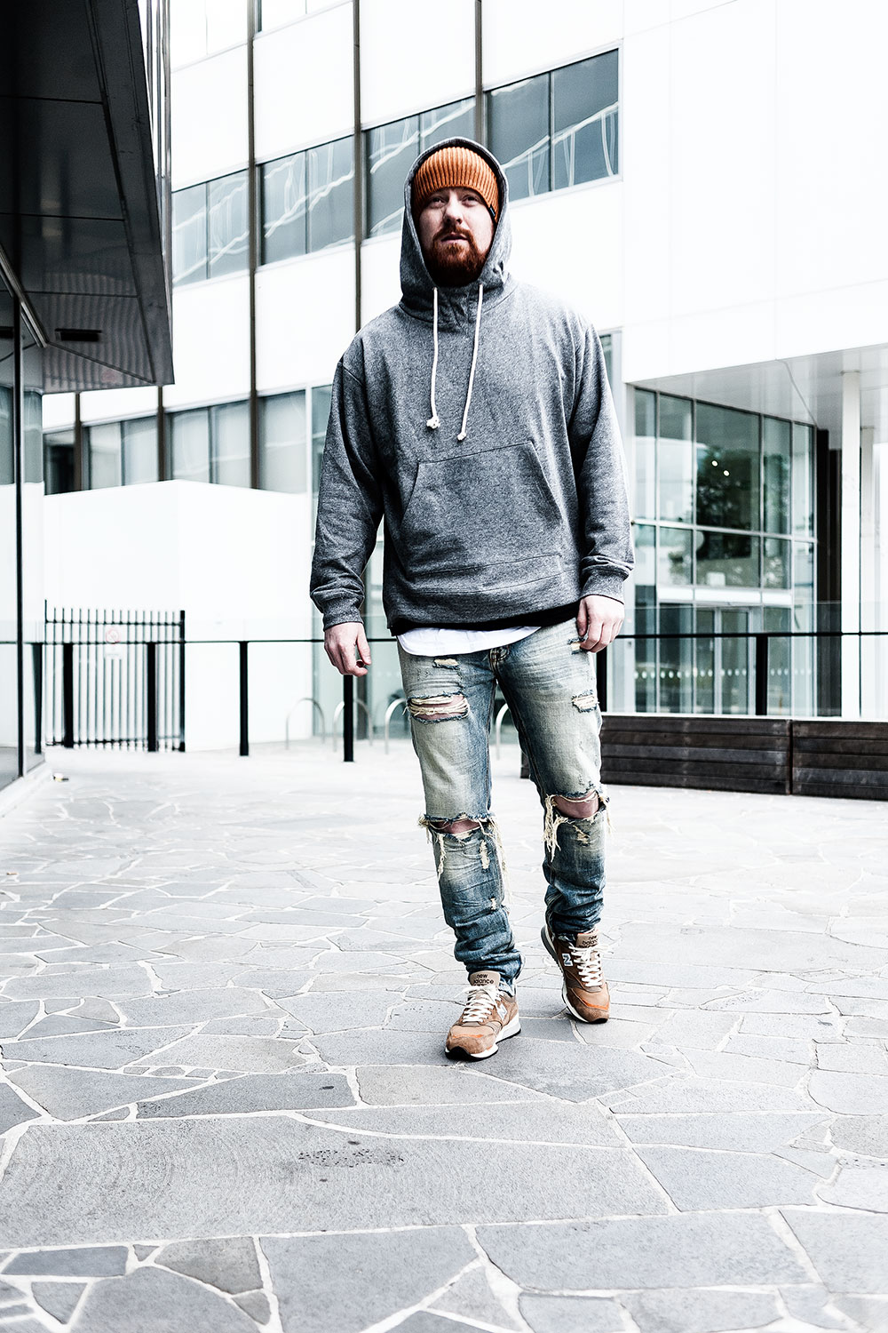 Norse Projects X New Balance M1500NO2 'Danish Weather' Brown Sneakers / MNML M1 Vintage Denim / MNML White Split-Back Scallop Tee / MNML Grey Alpha Hoodie / Nixon Regain Honey Beanie by Tom Cunningham