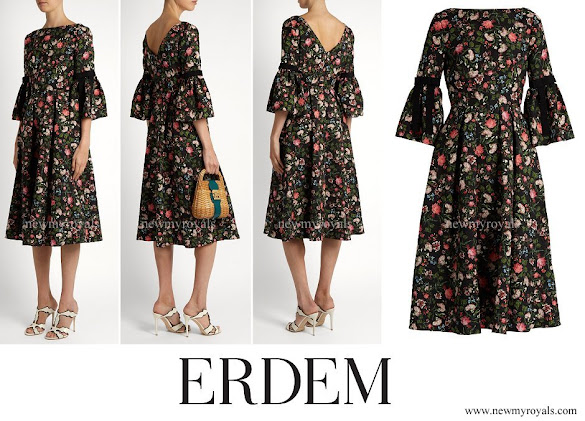 Crown Princess Mette Marit wore ERDEM Aleena Floral Print Matelasse Dress