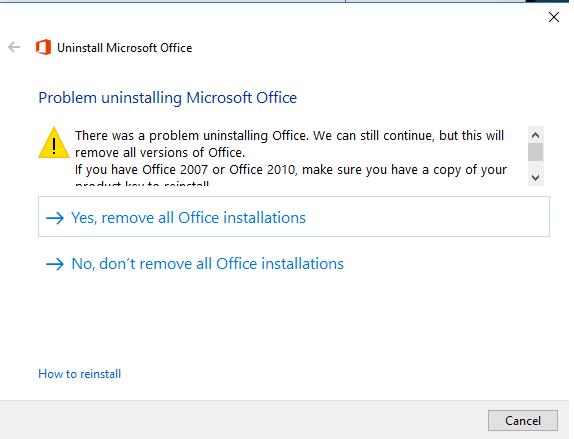 حل مشكلة ازالة برامج الاوفيس Microsoft Office لجميع