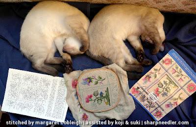 Crewel Sampler (by Elsa Williams): Fun with kittens