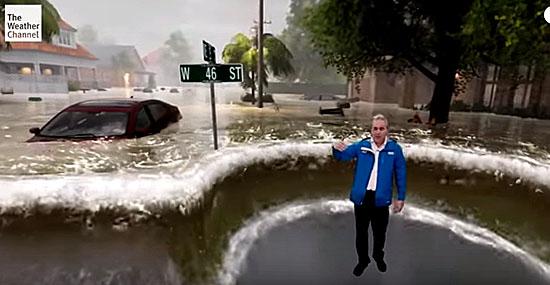 Estúdio de TV inunda com efeitos especiais para mostrar perigos do Furacão Florence