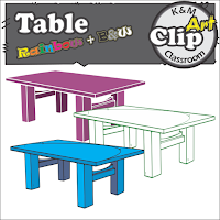 Table Clip Art in Rainbow Colors