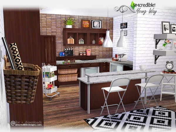 My sims 4 blog young way kitchen set by simcredible for Kitchen set sims 4