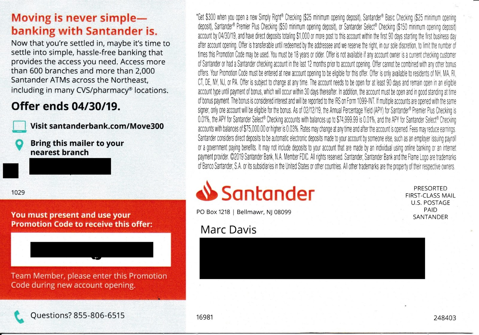 Mail That Fails: Santander Bank: What To Do to get $300?
