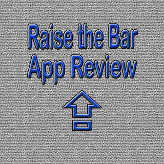 "An arrow pointing up and the words ""Raise the Bar App Review"" in a blue font against a textured grey background"
