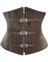 steampunk brown striped underbust corset