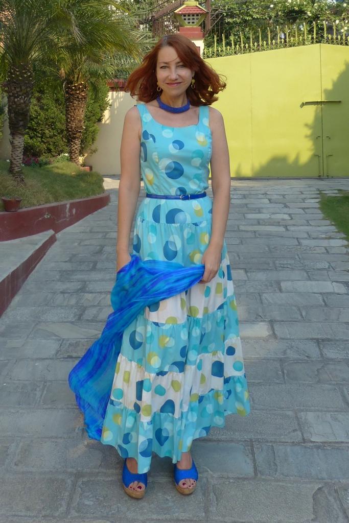 Large polka dot maxi dress