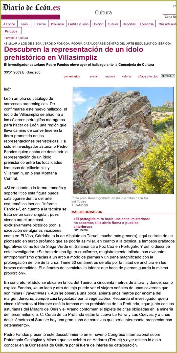 Pedro Fandos descubre un ídolo prehistórico en Villasimpliz