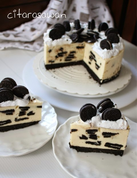 Kek Keju Oreo Dingin / No Bake Oreo Cheesecake