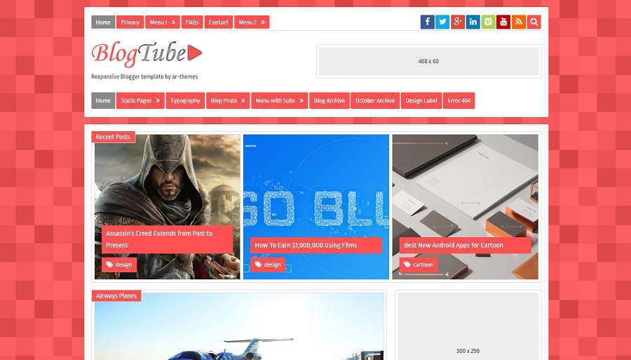 BlogTube v1.0 - Responsive Blogger Template