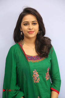 Actress Sri Divya Pictures in Green Salwar Kameez at Rayudu Team Meet  0048.JPG
