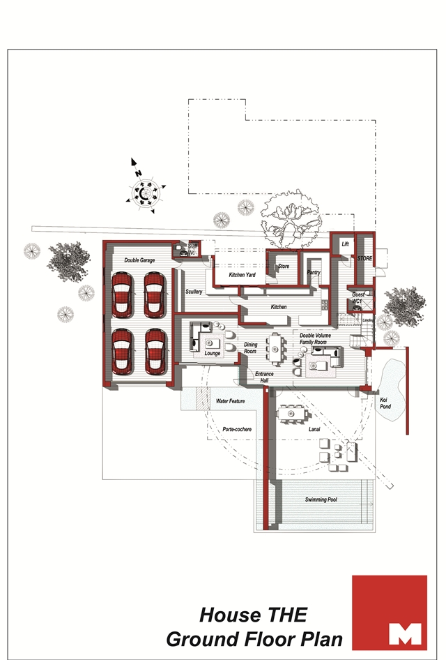Ground floor plan of the modern villa
