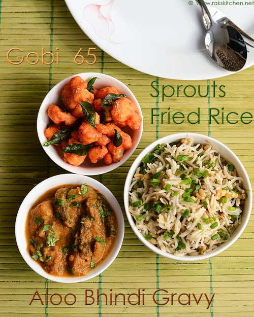sprouts fried rice, gobi 65, aloo bhindi gravy