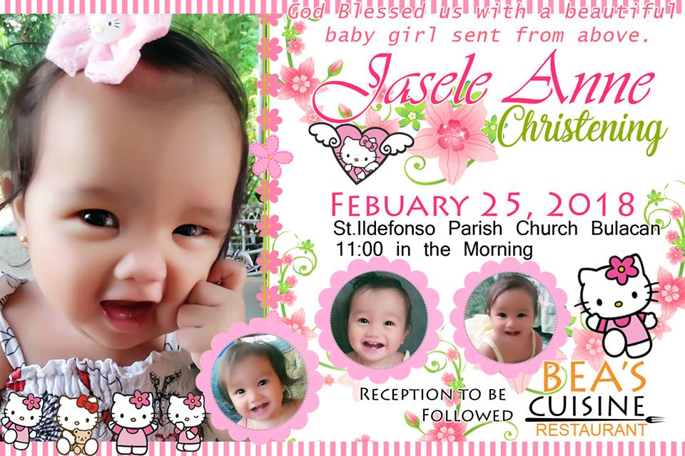 Awesome Design for Invitation Hello Kitty Template for Christening