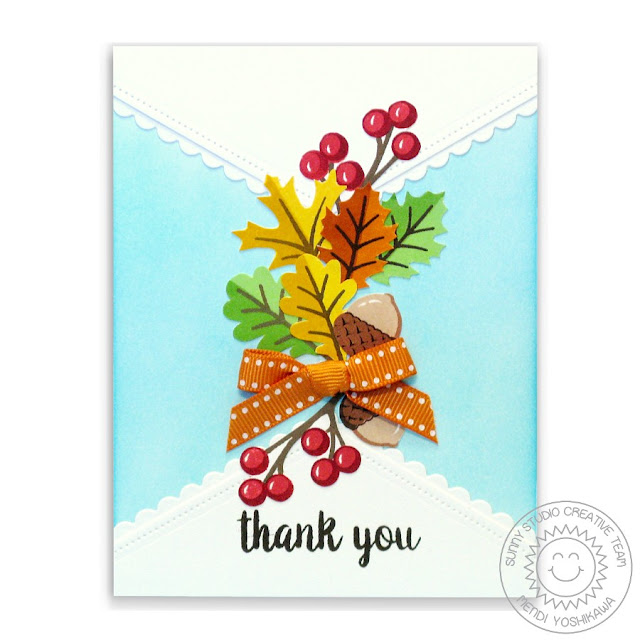 Sunny Studio Stamps: Autumn Splendor & Fishtail Banners Thank You Card by Mendi Yoshikawa