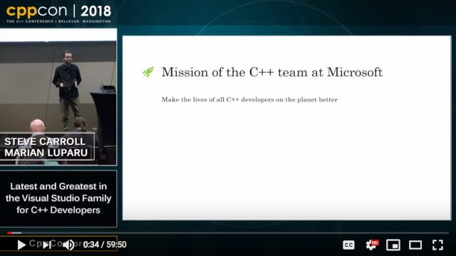 Presentation screenshot saying the mission of the C++ team is to make the lives of all C++ developers on the planet better.
