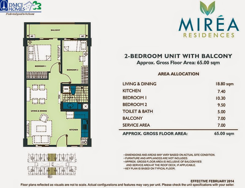 Mirea Residences 2-Bedroom Inner Unit 65.00 sqm.