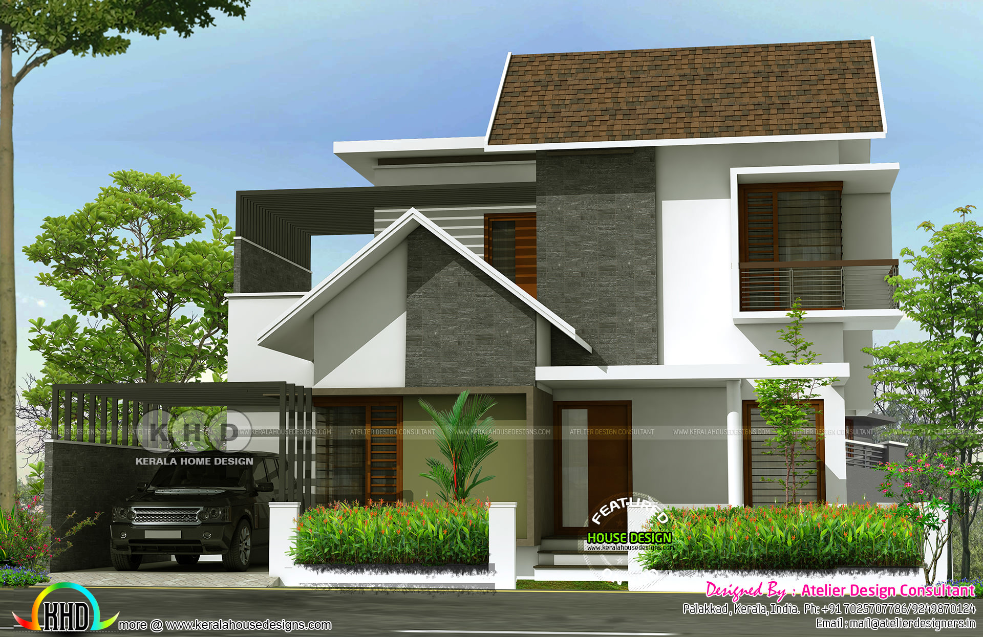 Modern sloped roof 3 bedrooms in 1600 sq ft kerala home for Modern house plans for 1600 sq ft