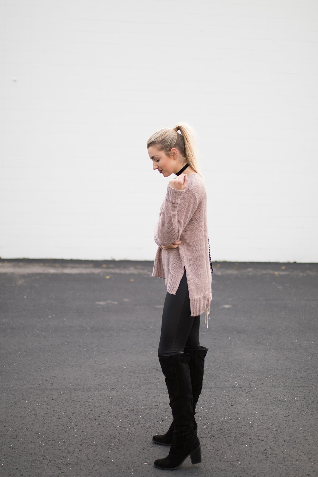 Long mauve sweater, leather leggings, OTK boots