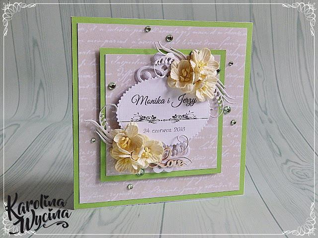 Ślubna kartka-elegantka z odrobiną zieleni
