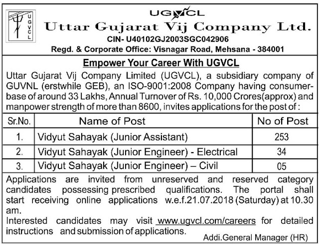 UGVCL Recruitment for 292 Vidyut Sahayak (Junior Assistant & Junior Engineer) Posts 2018