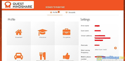 Dasbor akun online survey Quest MindShare | SurveiDibayar.com