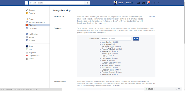 Facebook Blocking Settings add username here