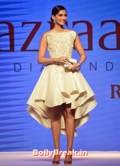 Sonam Kapoor the brand ambassador of the Gems and Jewellery Export Promotion Council walks for Rio Tinto's Nazraana., Sonam Kapoor Pics in White Gown Dress at IIJW Fashion Show 2014