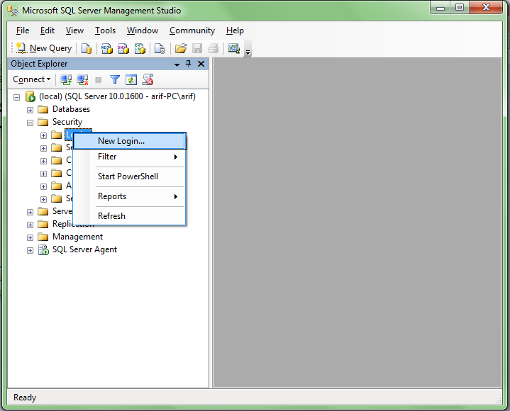 membuat login sql server 2008