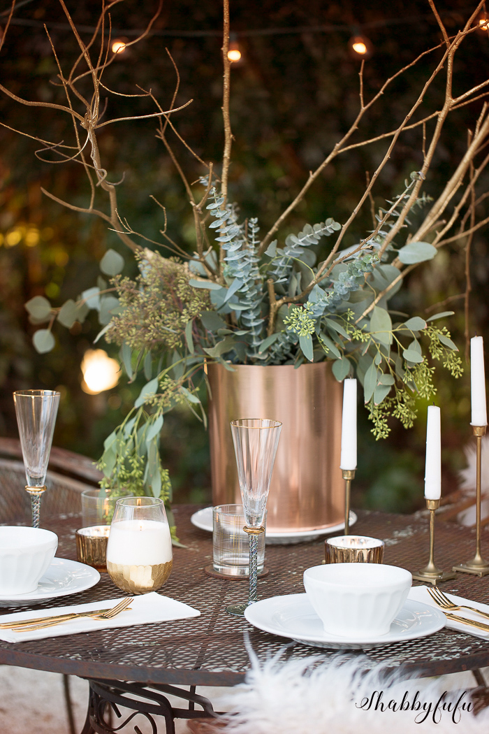 elegant outdoor winter table setting