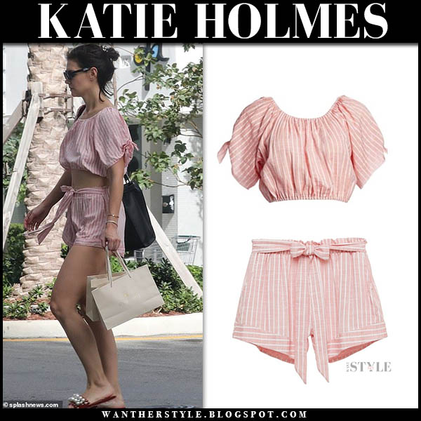 Katie Holmes in pink striped crop top and shorts vacation miami outfit december 28