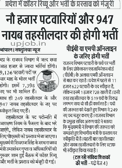 9126 MP patwari Accountant, lekhpal Recruitment 2017 Vyapam Notification