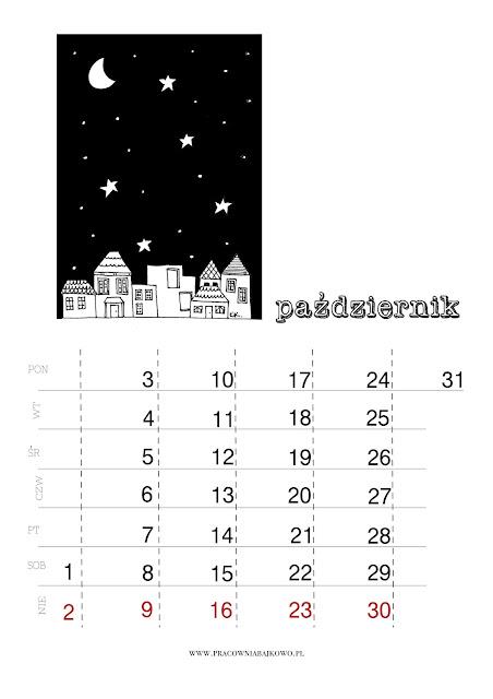 *kalendarz do druku* miesiąc PAŹDZERNIK 2016