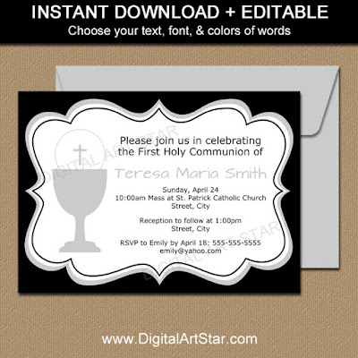 first communion invitation girl in black & white with silver accents