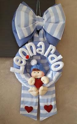 fiocco nascita bimbo azzurro righe cuori