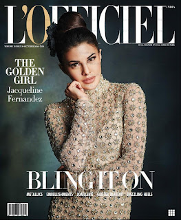 Jacqueline Fernandez in stonework skin tight gown on cover of LOfficiel India October 2016