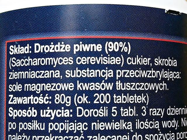 Drovit - Tabletki z drożdży piwnych, skład