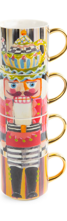MACKENZIE-CHILDS NUTCRACKER FOUR-PIECE MUG TOWER