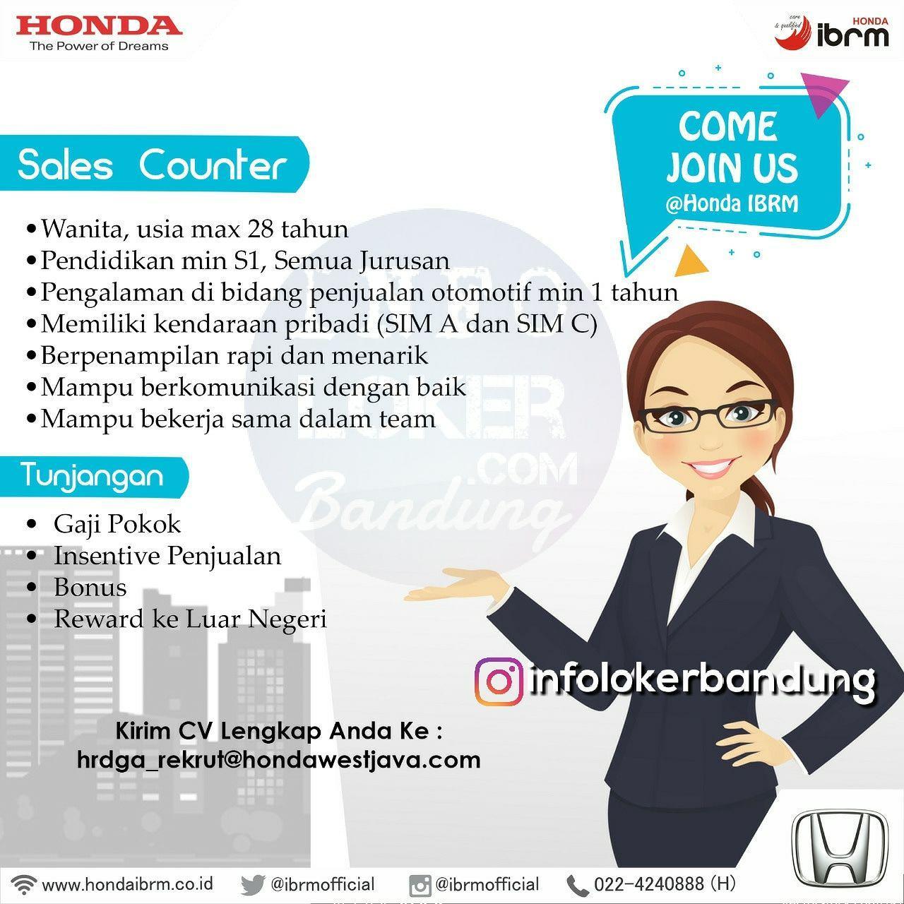 Lowongan Kerja Sales Counter Honda IBRM Bandung Maret 2018