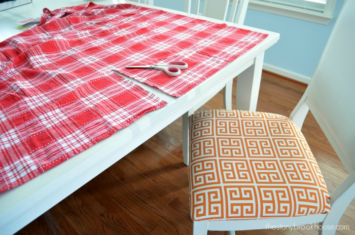 Cutting up tablecloth for seat covers