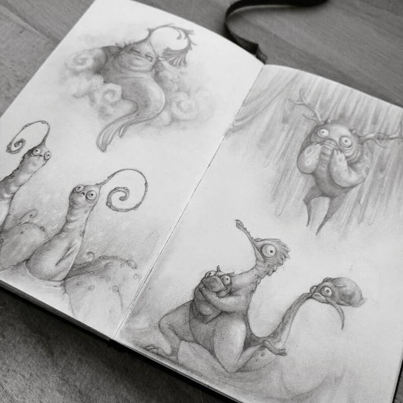 13-Stella-Bialek-Moleskine-Fantasy-Creatures-Drawings-www-designstack-co