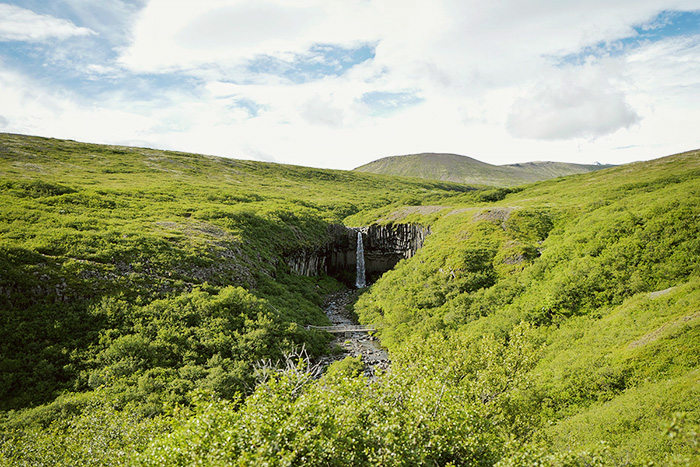 View of Svartifoss from a distance