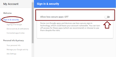 Google account Sign-in and Security allow less secure apps