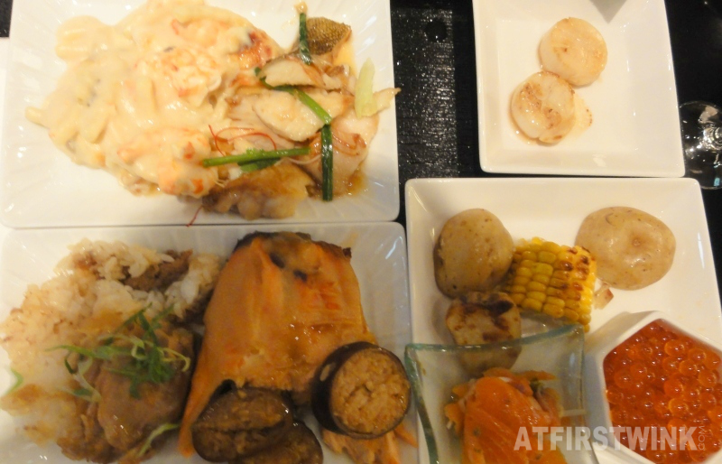 scallops grilled potatoes corn from Hokkaido raw salmon salad salmon eggs ikura fish stew penne carbonara shrimp salmon rice stuffed squid rolls buta-don